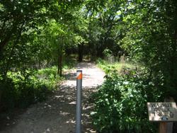 a trailhead in Loyd Park