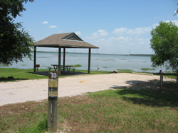 a campsite on the shore of Lake Joe Pool